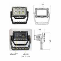 Phare LED rechargeable et portatif - dimensions et vue arrière