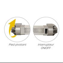 Plafonnier LED 56cm avec interrupteur et pied pivotant pour une orientation optimale