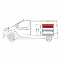 Aménagement métal Peugeot Expert Standard (L2) - ZEVIM Economique rouge - côté droit - vue dans utilitaire et dimensions