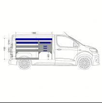 Aménagement métal Toyota Proace 2016+ Medium - ZEVIM Standard bleu - côté gauche - vue dans utilitaire et dimensions