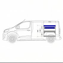 Aménagement métal Toyota Proace Medium (L2) - ZEVIM Economique bleu - côté droit - vue dans utilitaire et dimensions