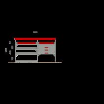 Aménagement métal Ford Transit Traction L2H2 - ZEVIM Standard rouge - côté gauche - vue dans utilitaire et dimensions