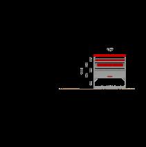 Aménagement métal Ford Transit L2H2 - ZEVIM Standard rouge - côté droit - vue dans utilitaire et dimensions
