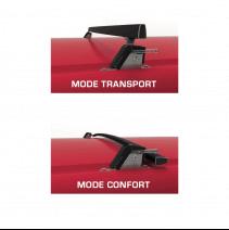 Barres de toit rabattables pour véhicule utilitaire - position haute et position basse