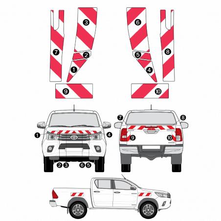 Kit de balisage - Toyota Hilux - bande réfléchissantes autocollantes 3M