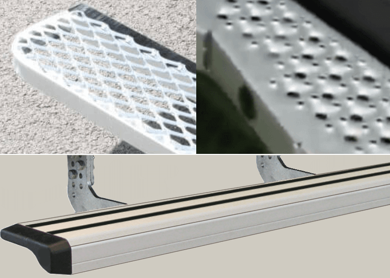 Comparaison design et matière marchepieds utilitaire